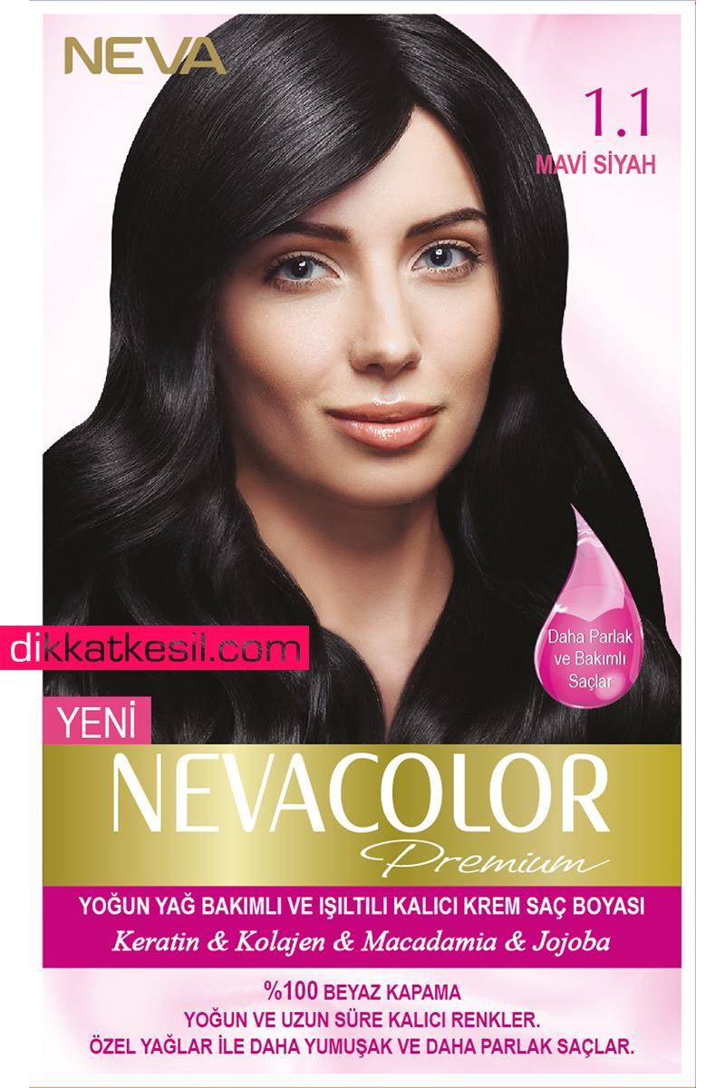 Nevacolor 1 1 Mavi Siyah Renk Premium Kalici Krem Sac Boyasi Seti