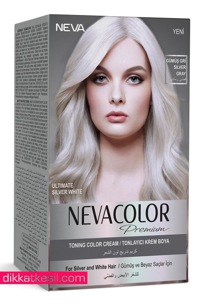 Nevacolor Gumus Gri Tonlayici Renk Premium Kalici Krem Sac Boyasi